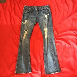 dELiA*s Reese Distressed Jeans 7/8s